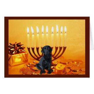 Tarjeta Menorah de Chanukah del labrador retriever
