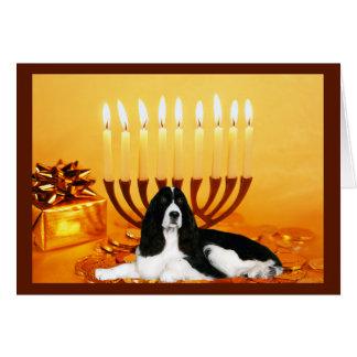 Tarjeta Menorah de Chanukah del perro de aguas de