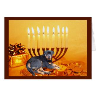 Tarjeta Menorah de Rottweiler Chanukah