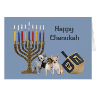 Tarjeta Menorah Dreidel3 de Chanukah de la chihuah