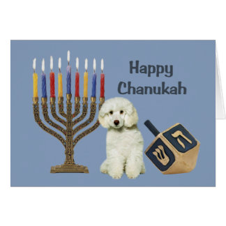 Tarjeta Menorah Dreidel de Chanukah del caniche
