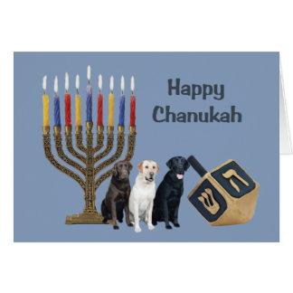 Tarjeta Menorah Dreidel de Chanukah del labrador r