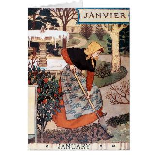 Tarjeta: Mes de enero - Janvier Tarjeta De Felicitación