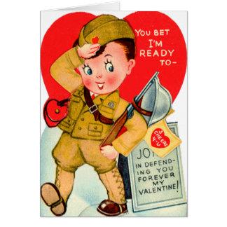 Tarjeta militar del el día de San Valentín del vin