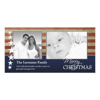 Tarjeta militar/patriótica de la foto del navidad tarjetas fotográficas personalizadas