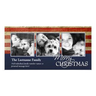 Tarjeta militar/patriótica de la foto del navidad tarjetas personales