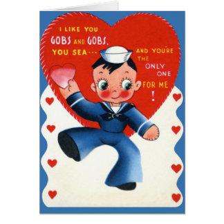 Tarjeta militar retra del el día de San Valentín d
