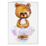 Tarjeta minúscula del oso del ballet