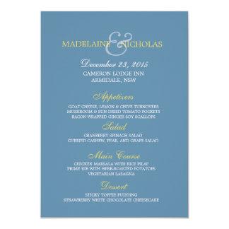"""Tarjeta moderna azul del menú del boda de la invitación 5"""" x 7"""""""