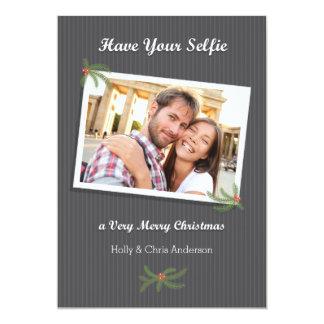 """Tarjeta moderna de la foto de Selfie del navidad Invitación 5"""" X 7"""""""