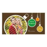 Tarjeta moderna de la foto del navidad marrón tarjeta personal