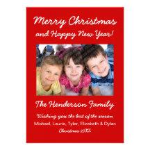Tarjeta moderna de la foto del navidad - rojo y invitaciones personales