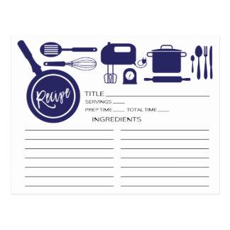 Tarjeta moderna de la receta de los utensilios de postal