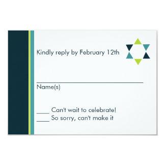 """Tarjeta moderna de la respuesta de Mitzvah de la Invitación 3.5"""" X 5"""""""