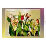 Tarjeta moderna de tierra del tulipán de cristal d