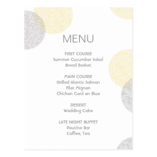 Tarjeta moderna del menú del boda del círculo del tarjetas postales