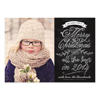 Tarjeta moderna elegante de la foto del navidad de anuncio personalizado