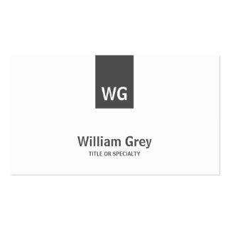 Tarjeta moderna gris blanca del perfil del monogra tarjetas de visita