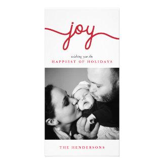 Tarjeta moderna roja de la foto del navidad de la tarjetas personales