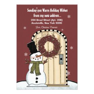Tarjeta móvil de la invitación del muñeco de nieve