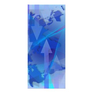 """Tarjeta mundial del estante de mapa del negocio folleto publicitario 4"""" x 9"""""""