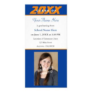 Tarjeta-Naranja y azul de la foto de la invitación Tarjetas Personales Con Fotos