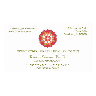 Tarjeta natural holística de la cita de la salud tarjetas de visita