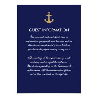 """Tarjeta náutica azul simple del parte movible del invitación 4.5"""" x 6.25"""""""