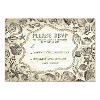 tarjeta náutica de RSVP del boda de playa de los Invitación 8,9 X 12,7 Cm