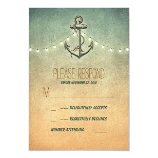 tarjeta náutica de RSVP del vintage que se casa Comunicados Personalizados