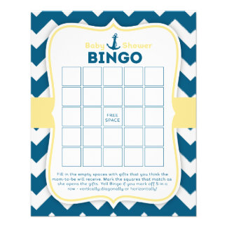 "Tarjeta náutica del bingo del bebé del ancla de folleto 4.5"" x 5.6"""