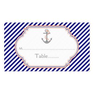 Tarjeta náutica del lugar del boda del ancla tarjetas de visita