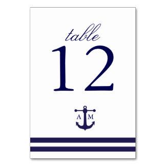 Tarjeta náutica del número de la tabla de la