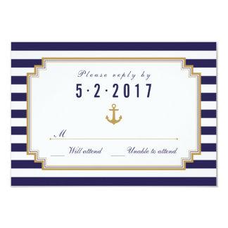 Tarjeta náutica elegante de RSVP que se casa Anuncio