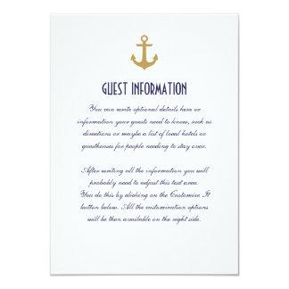 """Tarjeta náutica limpia blanca del parte movible invitación 4.5"""" x 6.25"""""""