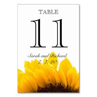 Tarjeta negra amarilla del número de la tabla del