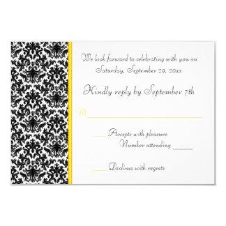 """Tarjeta negra, blanca, amarilla de RSVP del Invitación 3.5"""" X 5"""""""