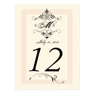 Tarjeta negra blanca antigua del número de la tabl tarjeta postal