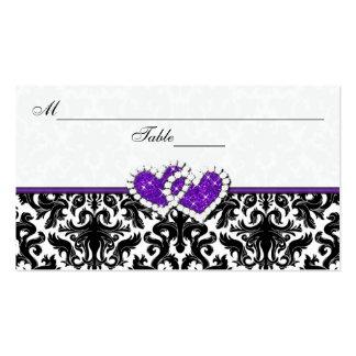 Tarjeta negra, blanca, púrpura del lugar de los tarjetas de visita