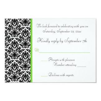 """Tarjeta negra, blanca, y verde de RSVP del damasco Invitación 3.5"""" X 5"""""""