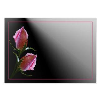 Tarjeta negra color de rosa doble del perfil tarjetas de visita grandes