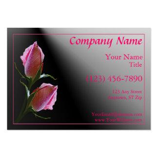Tarjeta negra color de rosa rosada doble del tarjetas de visita grandes