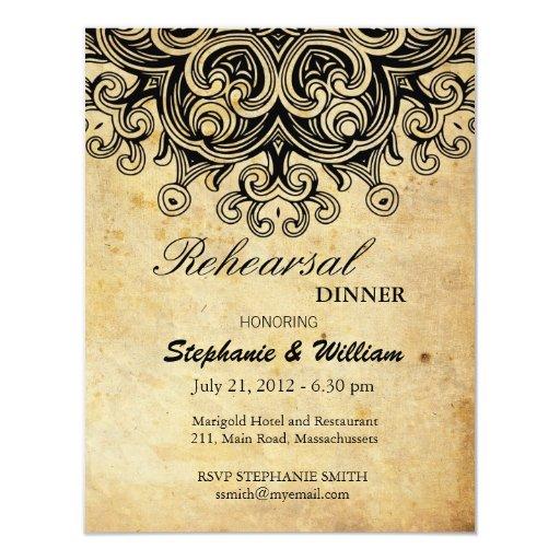 Tarjeta negra de la cena del ensayo del vintage invitaciones personalizada
