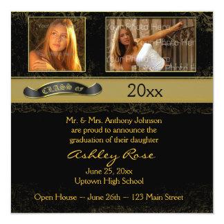 """Tarjeta negra de la foto de la graduación del oro invitación 5.25"""" x 5.25"""""""