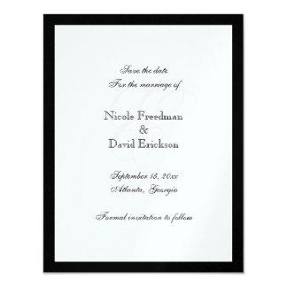 Tarjeta negra de la invitación del boda del