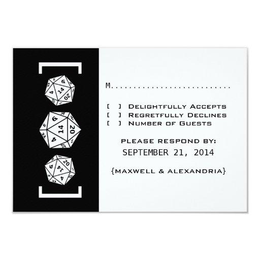 Tarjeta negra de la respuesta del boda del comunicados personalizados