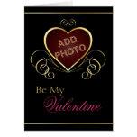 Tarjeta negra de la tarjeta del día de San Valentí