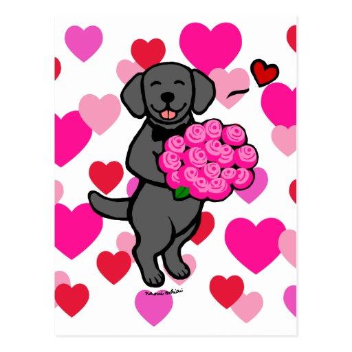 Tarjeta negra del el día de San Valentín del perri Postales