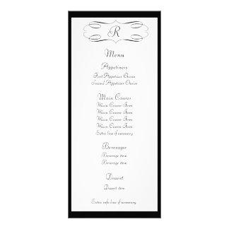 Tarjeta negra del estante del menú del boda del mo lonas personalizadas