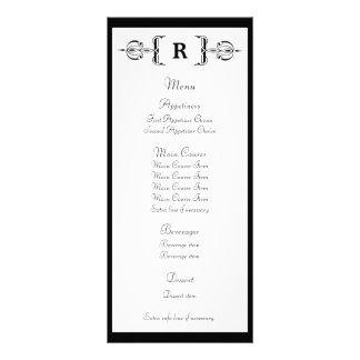 Tarjeta negra del estante del menú del boda del vi lonas